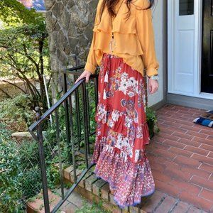 Boho Hippie Gypsy NEW Red Floral Ruffle Maxi Skirt